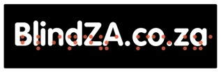blindZA.co.za logo - white text on black background, with white border - and red braille version hovering in front of normal text